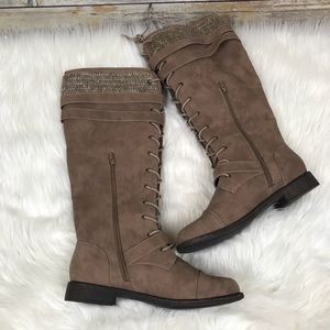 JustFab Shoes - Just Fab Delphinia Tan Lace-up Sweater Boot 7.5M 1500b7b03